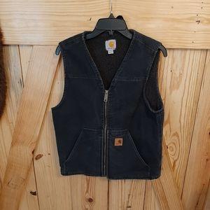 Mens Carhartt Black Fur Lined Vest Small